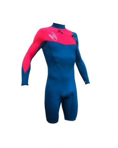 Neopreno SELAND wetsuit ISLA pata corta/manga larga 2.5 mm - Azul & Rosa